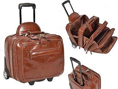 REAL Chestnut Leather Pilot Case Trolley Bag Laptop Business Travel Weekend Bag