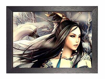 Asiatisch Mädchen Tattoo Poster Foto Krieger Lady Schön Bild Aufdruck ()
