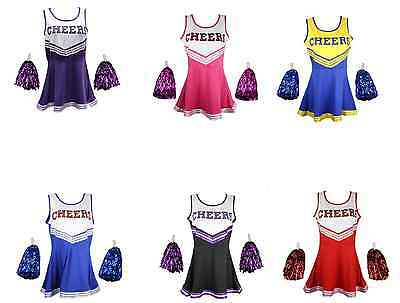 CHEERLEADER WOMAN / GIRL UNIFORM COSTUME OUTFIT With POM POMS FANCY - Girl Cheerleading Costume