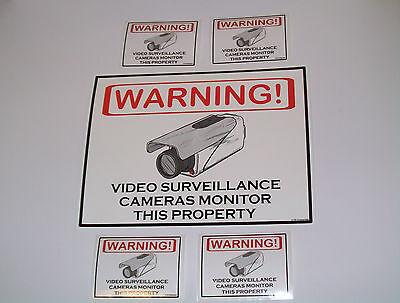 SECURITY CAMERAS WARNING SIGN + 4 WINDOW CAMERA DECALS