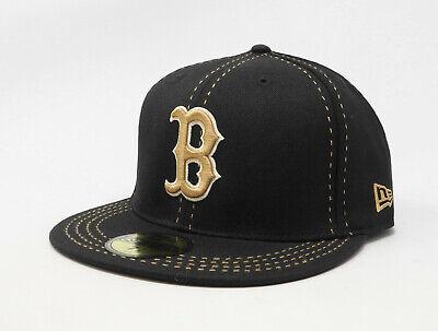New Era Hat 59Fifty Boston Red Sox Mens Black Tan Thread Fitted MLB 5950 Cap