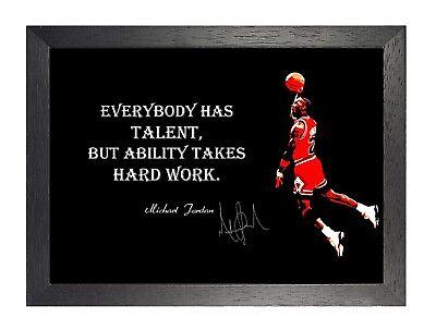 Michael Jordan Talent Harte Arbeit Motivation Zitat Poster Basketball Sport Foto