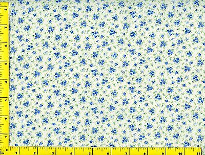 Blue Flower Bouquets &  Flowers on White Quilting Fabric by Yard #781 for sale  Rose Bud