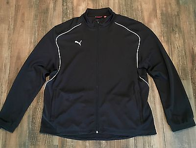 PUMA Men's Full Zip Track Jacket Sweatshirt Logo Black • Size XL