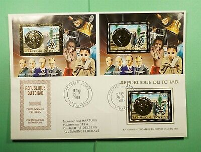 DR WHO 1985 CHAD FDC ROTARY INTERNATIONAL S/S COMBO IMPERF GOLD  Lg13119