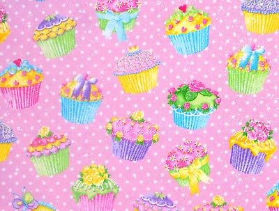 CUPCAKES FLANNEL FABRIC METALLIC  SWEET TREATS  POLKA DOTS  13