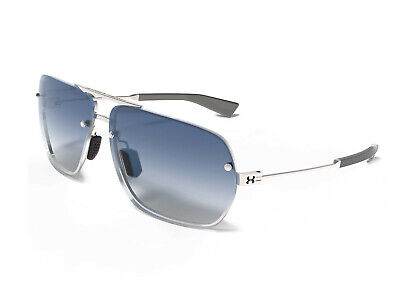 New $160 UA Under Armour Hi-Roll Aviator Sunglasses Silver Blue (Blue Gradient)