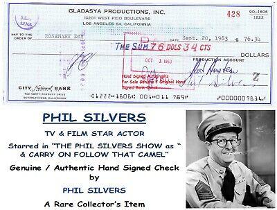 PHIL SILVERS  Sgt. BILKO  TV FILM STAR ACTOR  HAND SIGNED CHECK  1963 RARE ITEM