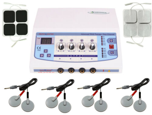 Pro 4 Channel Electrotherapy Chiropractic Self Adhesive & Carbon Pads Combo Unit