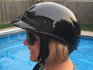 Ladies DOT Outlaw Glossy Black Half Motorcycle Helmet Size small