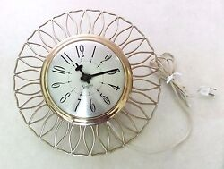 1960s Vtg MID CENTURY MODERN Ornate GOLD Domed Sessions Kitchen WALL CLOCK