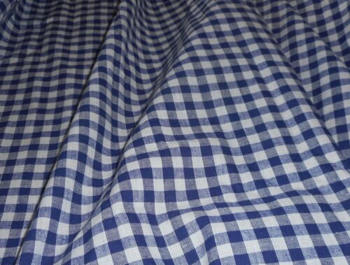 Vintage French Dark Blue White Gingham Check Loom Woven Cotton Fabric ~