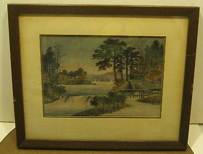 EXQUISITE Hand Woven TAPESTRY Asian Landscape Scene Framed & Matted SUPER!! NR!!