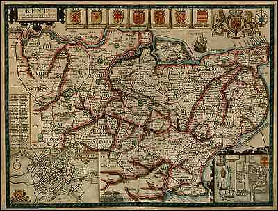 Reproduktion Antik Landkreis-Karte Plan Kent England von John Geschwindigkeit