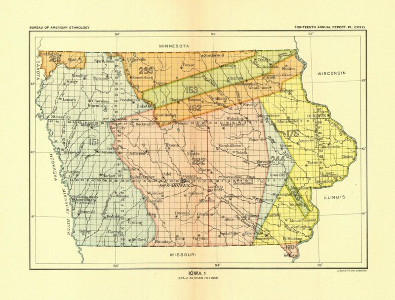 1896 map Iowa 1 United States Indian land cessions POSTER 24