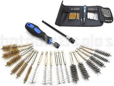20pc Industrial Wire Brush Set Extra Long Reach Cleaning Decarbon Kit W Pouch