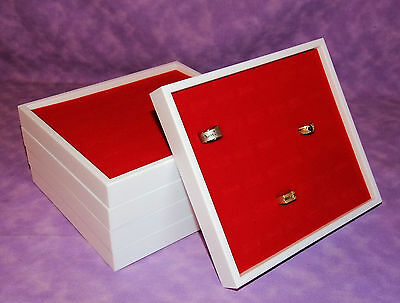 Set Of 5 White Jewelry Display Trays With Red 36 Ring Inserts