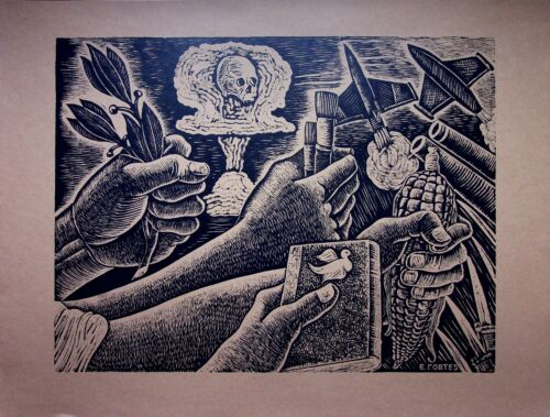 Erasto Cortes - THE CALL With Peace - Photolithography - 1959