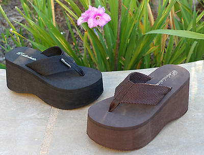 NEW Women's Thick Platforms/ High Wedge T-Strap Sandals Flip Flops--**1088** Wedge Women Flip Flops