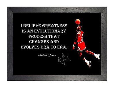 Michael Jordan Greatness Motivation Zitat Poster Basketball Sport Signatur