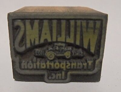 Vintage Printing Letterpress Printers Block Cut Williams Transportation Inc Car