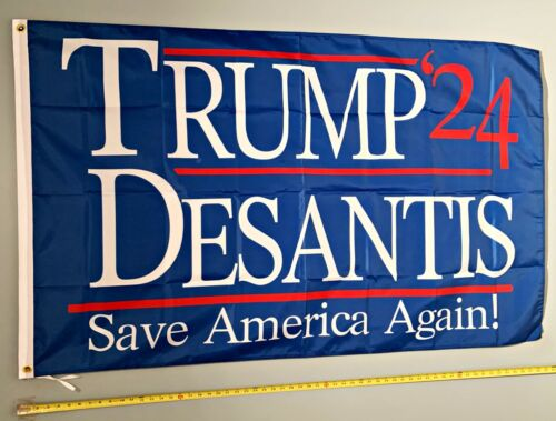 Donald Trump FLAG FREE SHIP USA SELLER Ron Desantis Save Blue 2024 USA Sign 3x5