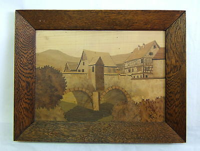 Painting Marquetry Antique Kaysersberg Alsace Signed Fear