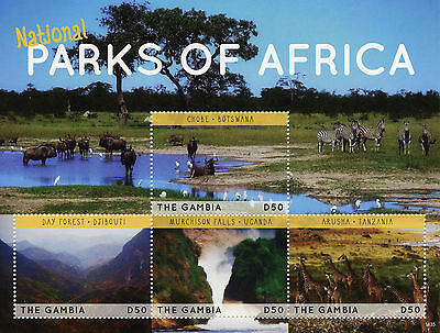 Gambia 2014 MNH National Parks of Africa 4v M/S II Birds Arusha Chobe Murchison