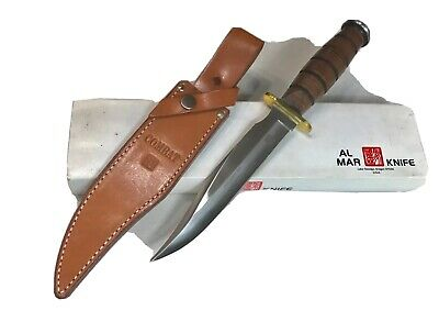"Vintage Al Mar Grunt Bowie Blade Dagger Knife ""Middle East War"" 13""L Box Mint"