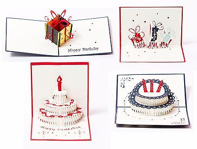 (3D Pop Up Happy Birthday Gift Greeting Cards for Kids. Set of 4-Assortment Pack)