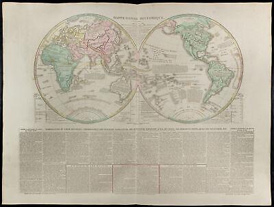 Große Antike Karte (1830ca - Weltkarte Antik : Große Landkarte Geografische Welt - Lesage)