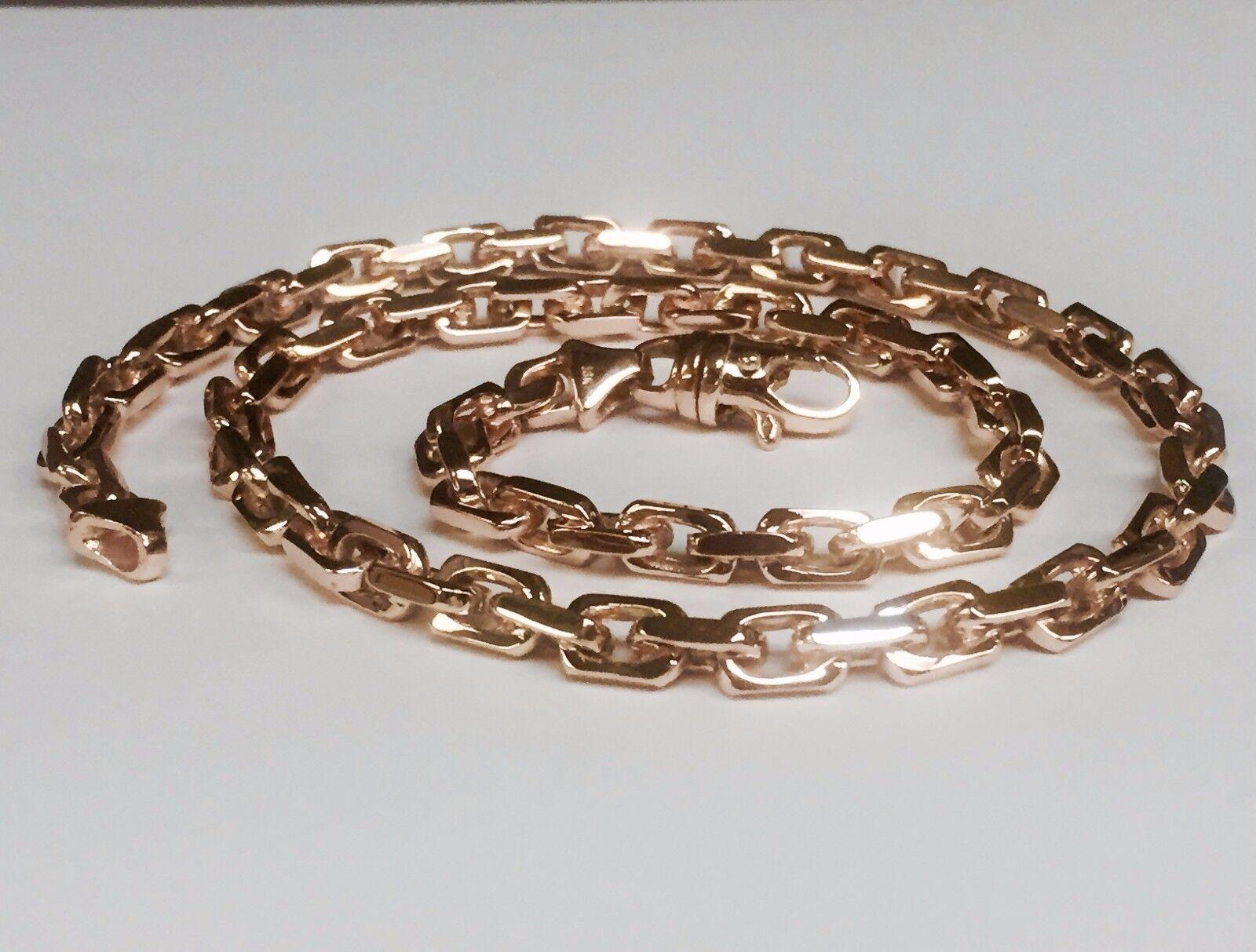 18k solid rose gold handmade link mens chain necklace 20. Black Bedroom Furniture Sets. Home Design Ideas