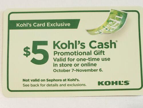 Kohls Cash Promotional Total 100 20 5 Exp 11/6.  - $49.00