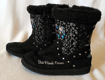 BOBBY JACK youth size 3 black WINTER SNOW BOOT side zipper BEST FRIENDS