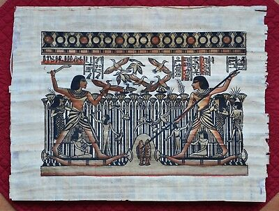 Used, Egyptian Papyrus Paper Painting Nebamun Hunting Quail & Fishing 16 X 12 Inches for sale  Leesburg