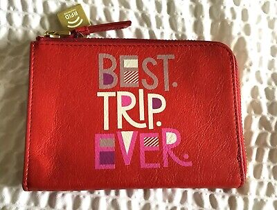 Fossil RFID Zipper Passport Case-- leather Poppy Red- BEST TRIP EVER card