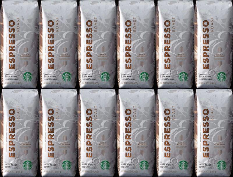 Starbucks Espresso Blend Dark Roast Whole Bean Coffee 1Lb Each 12-Pack BBD 3/21