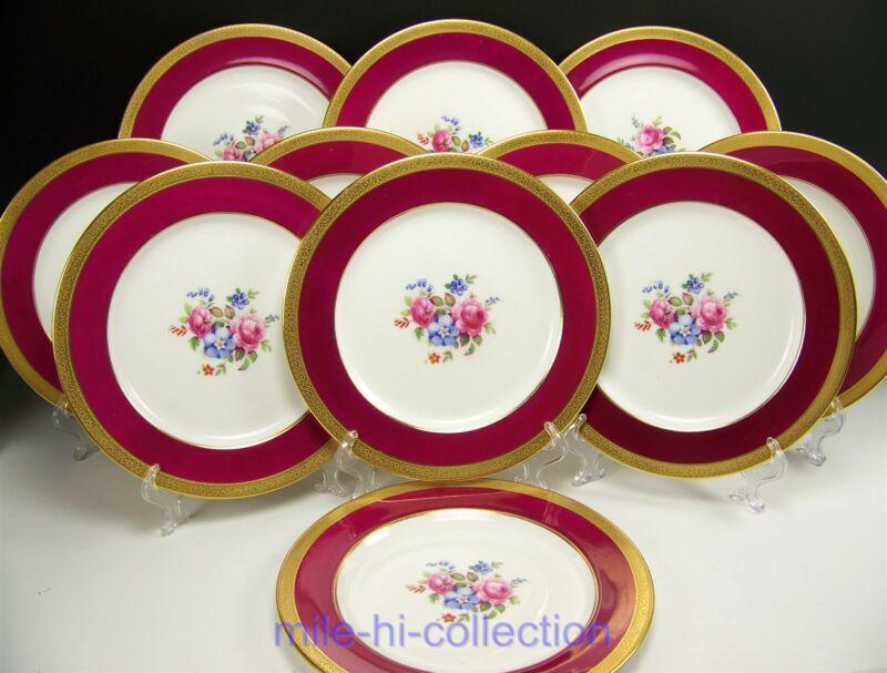 PARAGON ROSES FLORAL RED GOLD GILT DINNER PLATES SET OF 11