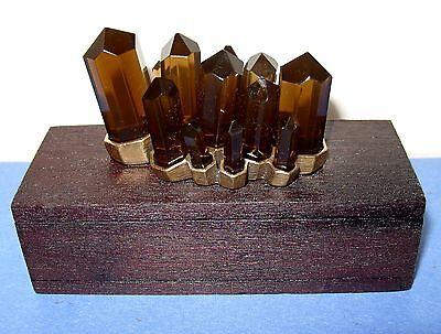 NWT Lucky Brand Dark Wood Smoky Topaz Crystals Jewelry Stash Trinket Box  $45rtl