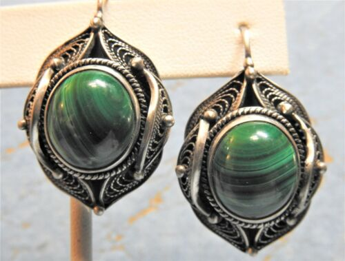 Large Solid Sterling Silver Filigree Mid-East Style Earrings w Malachite Cabocho