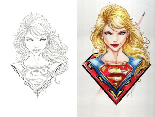 Jamie Tyndall Signed Superman Original Art Sketch & Metal Print Set ~ Supergirl