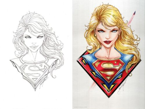 Jamie Tyndall Signed Superman Original Art Sketch & Metal Print Set ~ Supergirl