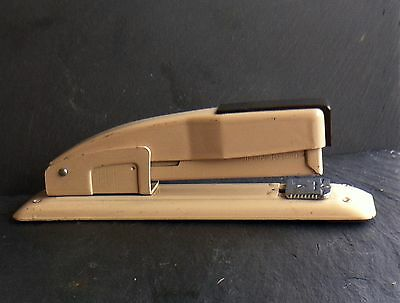 Vtg. Metal Swingline Stapler 415 Two Tone Cream And Brownmade In The Usa