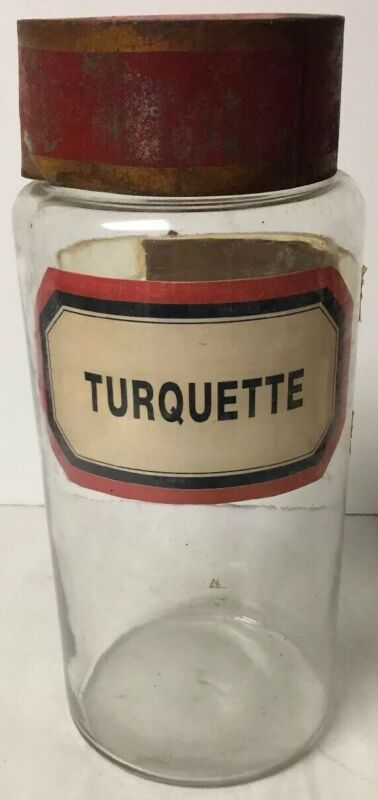 LARGE ANTIQUE APOTHECARY GLASS JAR with ORIGINAL TOLEWARE TIN LID TURQUETTE