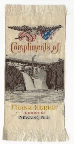 Frank Herud Furrier Newark, New Jersey Silk Advertising Ribbon