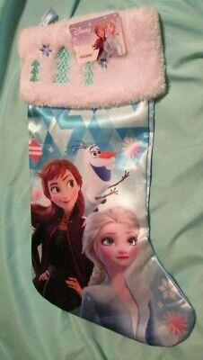 """NEW Disney FROZEN 2 Satin Christmas Stocking with white Plush Cuff 18"""""""