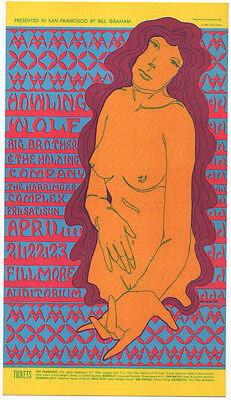 ORIGINAL MINT 1967 HOWLIN' WOLF JANIS JOPLIN BIG BROTHER FILLMORE POSTCARD BG60