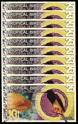 Aldabra Island 25 Dollars 2017 Unc 10 Pcs Lot Tropical Birds