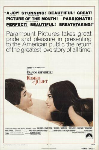 ROMEO AND JULIET. ORIGINAL Movie POSTER. 27x40. Zefferelli Whiting  Hussey