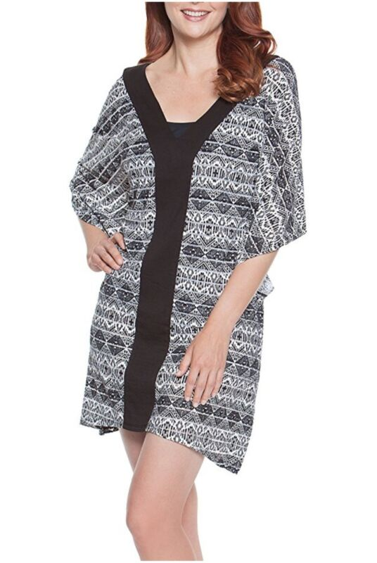 Dotti black white swimsuit cover up L